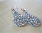 Seed Bead Teardrop Dangle Earrings - Pearl Gray and Peach - small