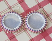 Seed Bead and Fabric Earrings with Bezel - Blue Skies with Pink