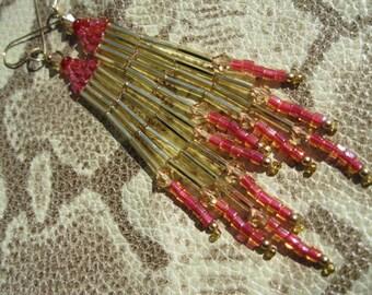Bugle Seed Bead Chandelier Dangle Earrings - Gold and Raspberry Orange