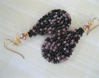 Seed Bead Teardrop Dangle Earrings - Black, Bronze and Mauve - small