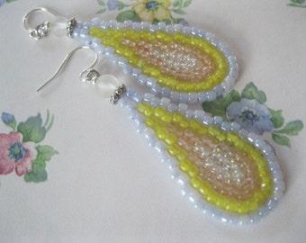 Seed Bead Teardrop Dangle Earrings - Peach, Yellow, Light Blue and Clear