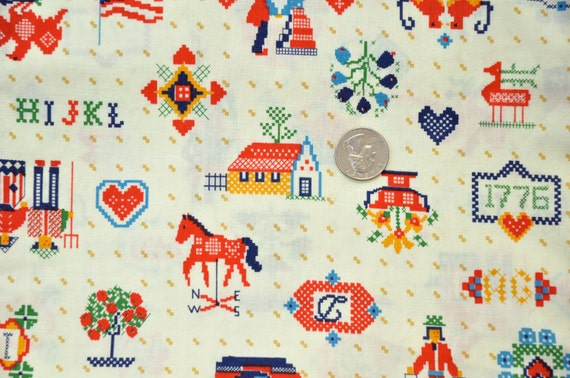 Vintage fabric fat quarter - cross stitch pattern