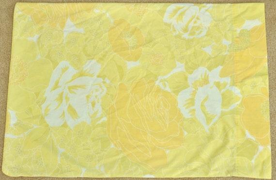 Vintage Pillowcase - orange, yellow, and white floral pattern