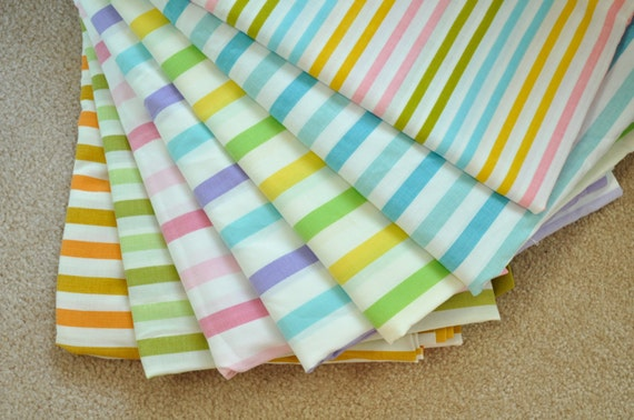 Vintage Sheet Rainbow Stripe Fat Quarter Bundle