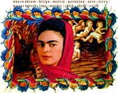 Frida Kahlo on Illuminated Manuscript 8x10 Digital Art Print Signed  Original Mixed Media Digital Collage