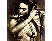 Frida Kahlo Art Print Quote Original 5x7 Photomontage Signed Mixed Media Collage Nude Written On The Spirit