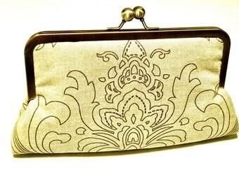 Gwyneth Clutch purse lined in Grape Silk