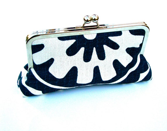 Maya Clutch, Handbag  Lined In Tango Tangerine Dupioni Silk