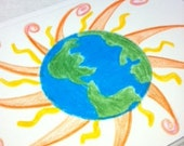 Earth and Sun Blank Note Card Stationary