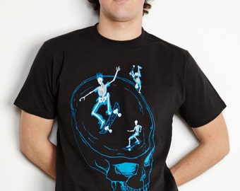 Men's Organic Skeletons on Skateboards Shirt