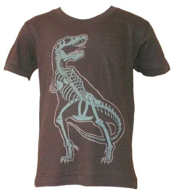 CLEARANCE SALE Organic Toddler T-Rex Shirt in Charcoal