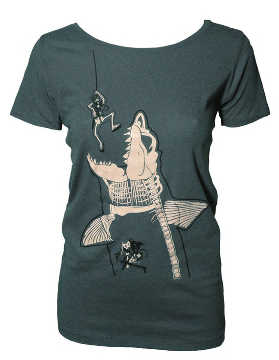 Women's Organic Shark and Diver Tee--Glows in the Dark