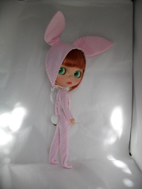 Pattern for Blythe Dolls  - Nightgown, Robe Pajamas and Bunny Suit Set