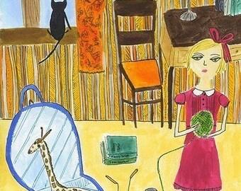 Each autumn Myrtle Burstein felt the urge to run away from home.   Limited edition print by Vivienne Strauss.