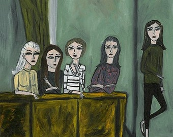 Beatnik girls in NYC, 1959. Limited edition print of an original oil painting by Vivienne Strauss.