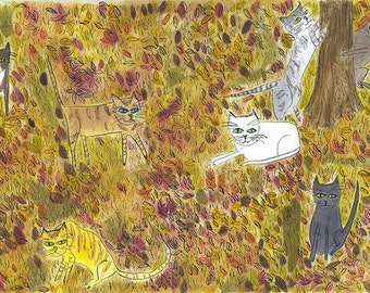 Fall cats, frolicking and Yard cats  Limited edition prints by Vivienne Strauss.