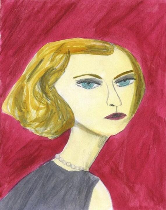 portrait illustration - Daphne D.  Original watercolor painting by Vivienne Strauss.