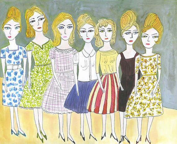 Final contestants in the Brigitte Bardot look a like contest.   Original watercolor painting by Vivienne Strauss.