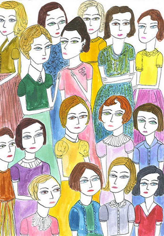 original illustration - The Women.   Original watercolor painting by Vivienne Strauss.