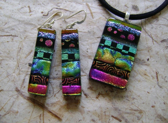 Dichroic glass earrings and pendant set.