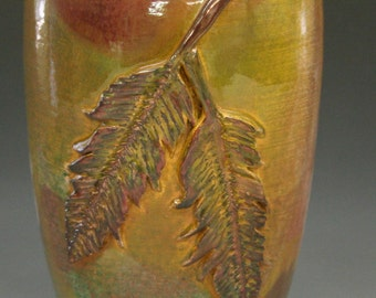 Raku Vase with Feathers in Gold Copper Iridescent Colors