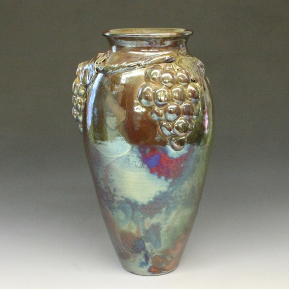 Large Iridescent Grape Raku Vase