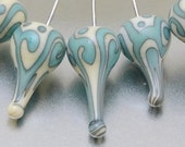 Glass Headpins - helix teardrops (1) - ivory and copper green - sterling -  by Jennie Yip