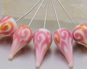 Head pins - helix teardrops (1) - white and pink with sterling silver wire. Lampwork by Jennie Yip