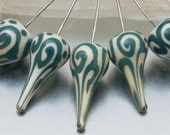 Headpins - helix teardrops (1) - ivory and green - lampwork glass - sterling - by Jennie Yip