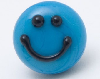 Lapel pin - Smile :-) dark sky blue - lampwork glass - Jennie Yip