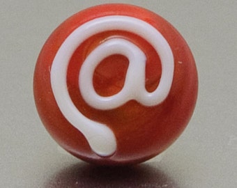 Lapel pin - At sign - light red - lampwork glass - Jennie Yip