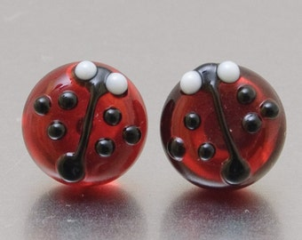 Stud earrings - Ladybugs - transparent red - lampwork glass - sterling silver
