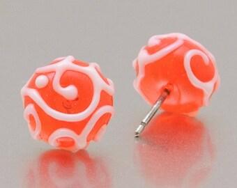 Stud earrings - orange and white - lampwork glass - sterling silver - Line Art by Jennie Yip