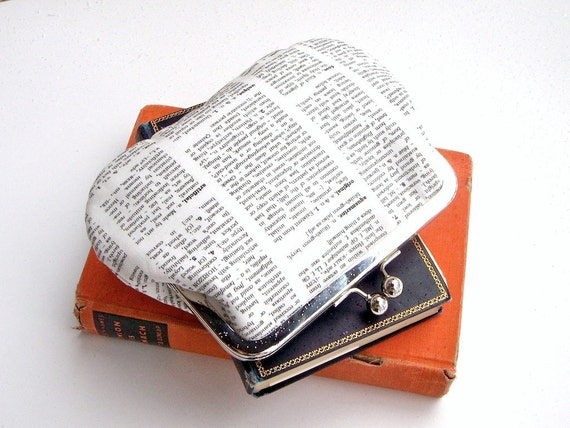 Bookish dictionary clutch pouch