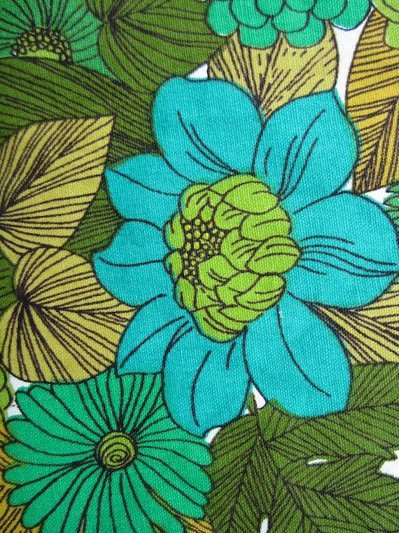 Vintage mad men floral atomic pillow square fabric piece