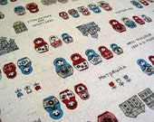 Russian Dolls-Japanese cotton linen blend fabric(0.5 yard)