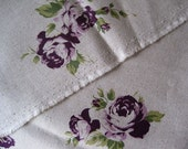 Trefle Roses (purple)-Japanese cotton linen blend fabric(0.5yard)