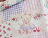 Sweet teddies and bunnies decoupage-Japanese cotton linen blend fabric (0.5 yard)