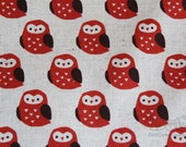 Big Owl(red)-Japanese cotton linen blend fabric (0.5 yard)