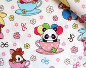 Cup of Cuteness(white)-Japanese cotton linen blend fabric (0.5 yard)