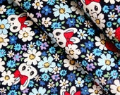 Bunny Meadow(blue)-Japanese cotton linen blend fabric (0.5 yard)