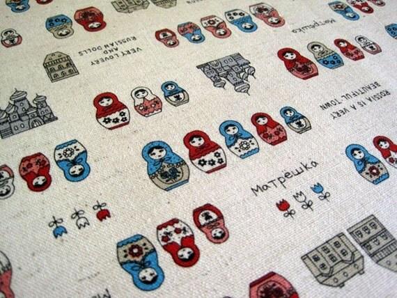 Russian Dolls-Japanese cotton linen blend fabric(0.5 yard)