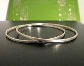 RESERVED--- Custom Solid .925 Sterling Silver Hand Forged Hammered Stack Bangle Bracelet
