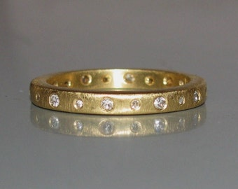Hefty Matte Diamond Eternity Stack Band Stacking Ring 14K,18K, or 22K Gold- Any Color/Size