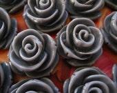 Large Vintage Rose Post Earrings - Grey or Hot Pink