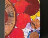 Original summer garden abstract wild sun flower time clock wood folk art block painting