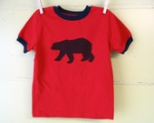 SALE Blue Bear on Red T-Shirt, 3T