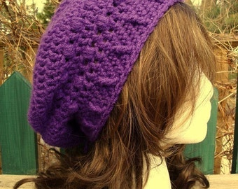 Celebrity Style Beret-Tam-Snood .....Deep Purple
