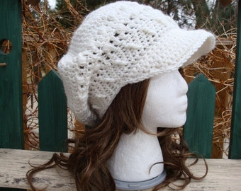 Celebrity Style Beret-Tam-Snood-Newsboy-Brimmed..... White