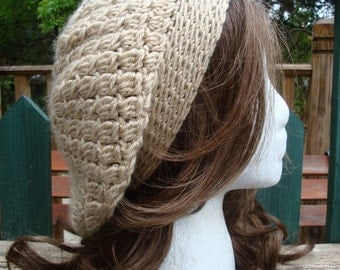 Crocheted Beret-Tam-Snood.....Toasted Almond